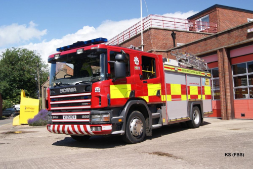 Scania Emergency One (UK) of Hereford & Worcester FRS at Evesham