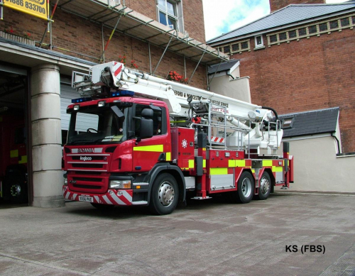 Scania / Angloco Aerial Ladder Platform of Hereford & Worcester FRS at Hereford