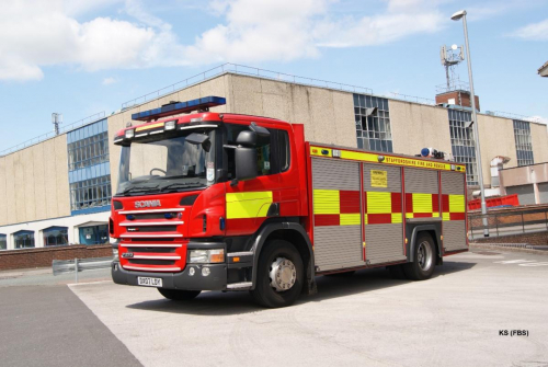 Scania / Emergency One Rescue Tender of Staffordshire FRS at Longton